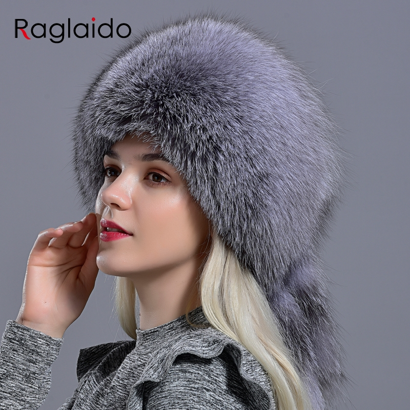 Raglaido Natural Fur Hat With Tail Elegant Women Winter Diamond Rabbit Fox Fashionable Stylish Fluffy Modest Warm Skull Hat