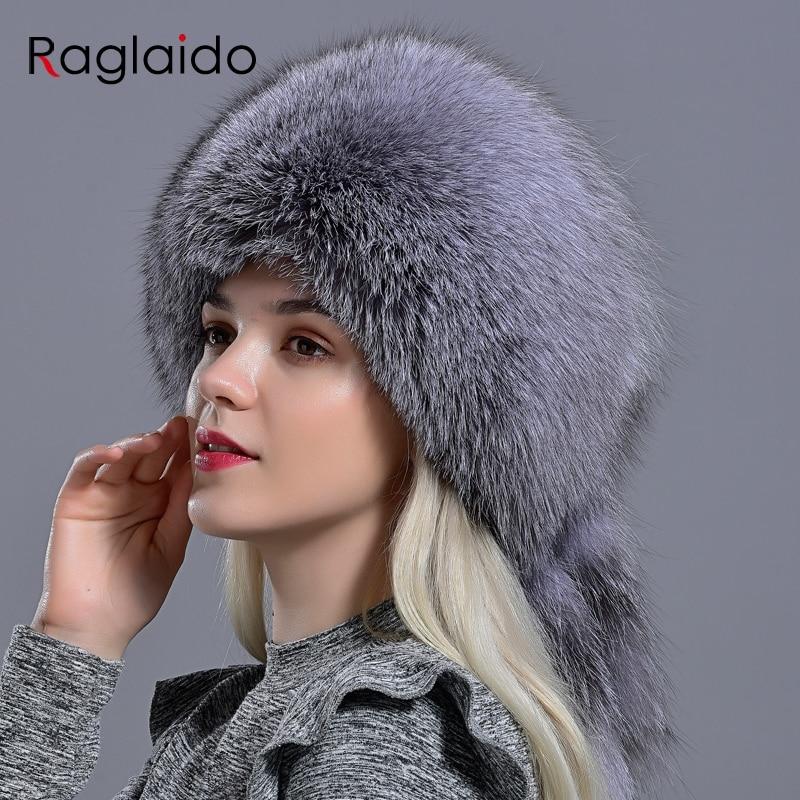 Raglaido Natural Fur Hat With Tail Elegant Women Winter Diamond Rabbit Fox Fashionable Stylish Fluffy Modest Warm Skull Hat