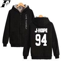 BTS LOVE YOURSELF Autumn Winter Thicken Hoodies Women BTS Kpop LOVE YOURSELF Fleece Fluffy Sweatshirts Bangtan