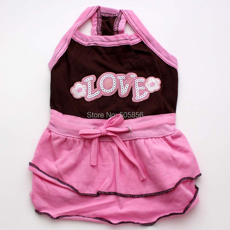 Pink&Brown dog dress with LOVE design,pet Skirt clothes apparel,5 sizes available