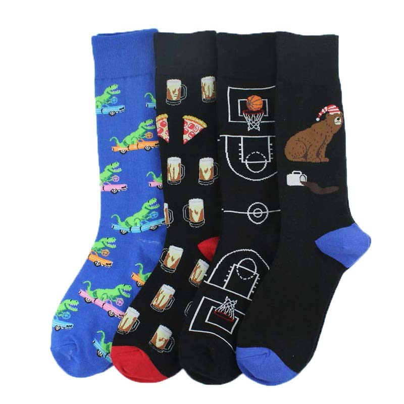 PEONFLY 1 Pair Combed Cotton Men's Socks Funny Cartoon Dinosaur Bear Colorful Happy Socks Harajuku Beer Casual Calcetines Hombre