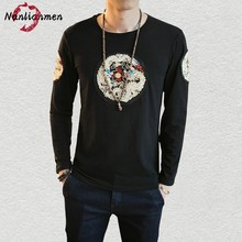 Gold Dragon Embroidery T Shirt Men T-shirt Long Sleeve Mens tshirt Fashion 2017 camiseta masculina 2017 Chinese Style Plus Size