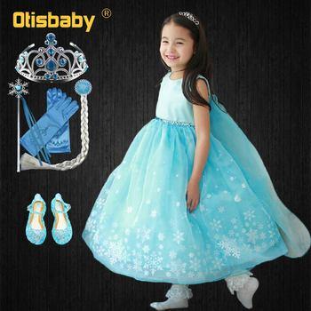 d1f6223404 3-10 años Niña nieve reina Elsa Tutu princesa vestido de verano desfile  chicas Rapunzel baile vestido de fiesta de cumpleaños ropa de los niños