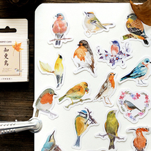 45pcs/pack Kawaii Robin Adhesive Paper Card Sticky DIY Home Decoration Scrapbook Sticker Stationery Bookmark