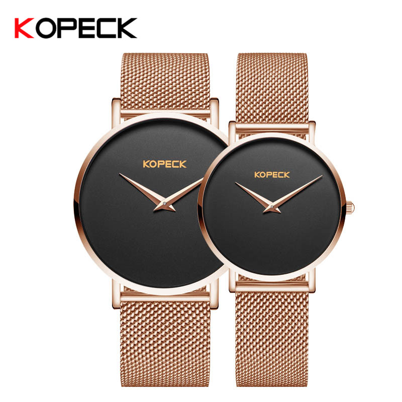 Kopeck Brand Unique Lovers Couple Watches Stainless Steel Mesh Watch Men Women Quartz Sapphire Crystal Wristwatch Paare Tabelle