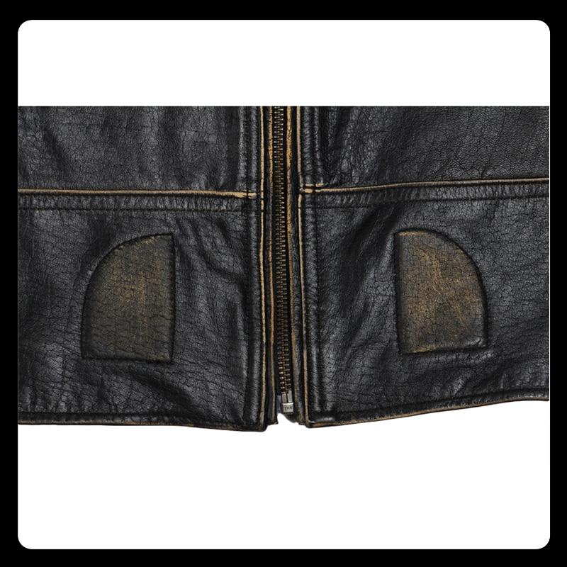 MAPLESTEED Vintage Motorcycle Jacket Men Leather Jacket 100% Cowhide Genuine Leather Jackets Mens Biker Coat Moto Jacket 5XL 090