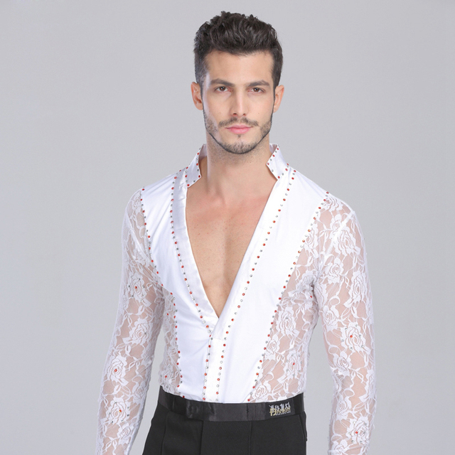 a96a671e906ccb Sexy Latin Performance Dance Lace Long Sleeves Costume Chacha Female  Practice Tops Clothing Adult Tango Dancing Clothes DWY700