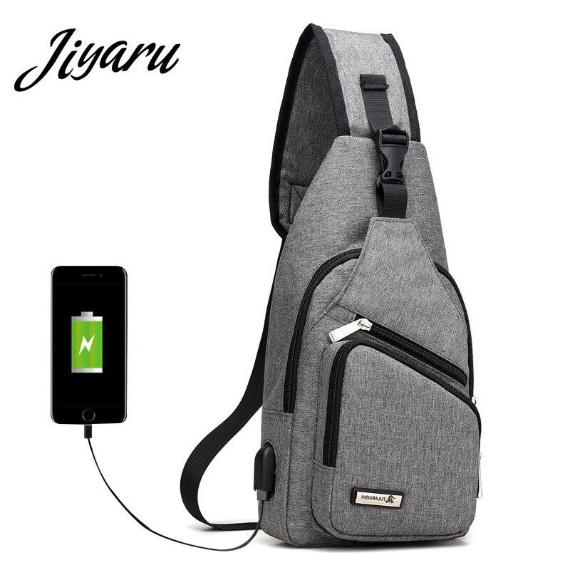 Men Chest Bag USB Oxford Messenger Bags Crossbody Women Male Theftproof for Travel Bag Single Shoulder Strap Slingbag