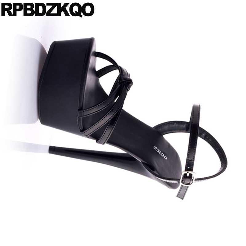 ... 11 Stripper Fetish High Heels Gothic Black Platform Stiletto Women Shoes  Crossdressed Pumps Two Strap Sandals ... 8f1f84666ab8