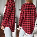 women blouses Blusas 2016 new Red Plaid Print Long Blouse Feminine plus size Shirt Casual Blouse Brand Tops body vetement femme