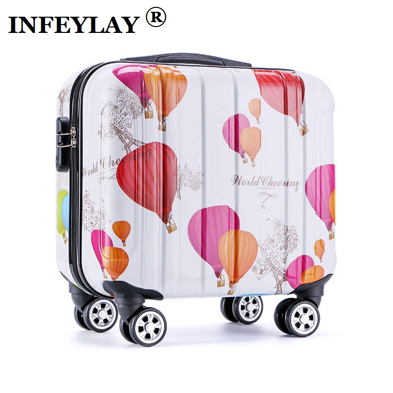 16 inches girl cartoon students Universal wheel trolley case child Travel luggage rolling suitcase women creative Boarding box