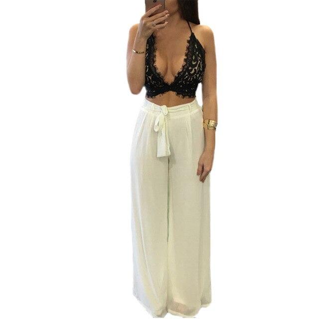 4ea6e45c32 Summer Style Women Jumpsuit Sexy Lace Crop Top Bra Two Piece Outfits Rompers  Jumpsuit Long Pants 2 Piece Set Loose Slim Playsuit