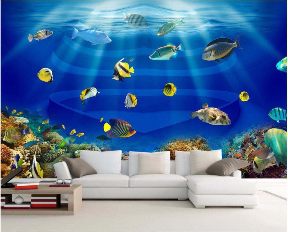 цена 3d wall murals wallpaper for walls 3 d wallpaper sea world fish swim TV background wall room decor Custom mural photo painting онлайн в 2017 году