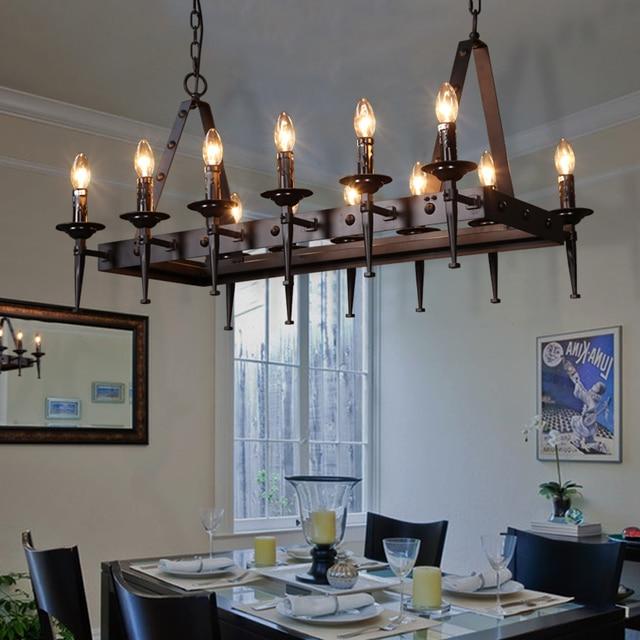 Etonnant American Designer Candle Chandelier Chandelier Rectangular Table IKEA Retro  Nordic Iron Office Chandelier