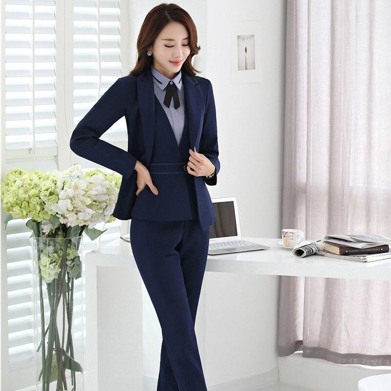 Plus Size 4XL Formal Uniform Styles Professional Pantsuits Suits With 4 Pieces Jackets + Pants + Vest +Blouse Female Blazers