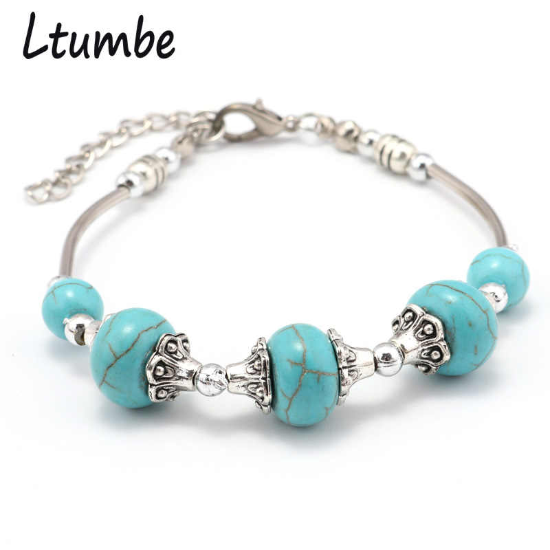 Ltumbe Simple Vintage Gypsy Boho Jewelry Silver Color Geometric Beads Bracelets & Bangles for Women Pulseras Charm Bracelets