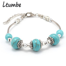 Ltumbe Simple Vintage Gypsy Boho Jewelry Silver Color Geometric Beads Bracelets amp Bangles for Women Pulseras Charm Bracelets cheap Fashion BTLT018 Stone Bezel Setting Link Chain LOBSTER Ethnic Zinc Alloy None Children s Unisex Women s Party Birthday the Mall Daily Wedding Engagement
