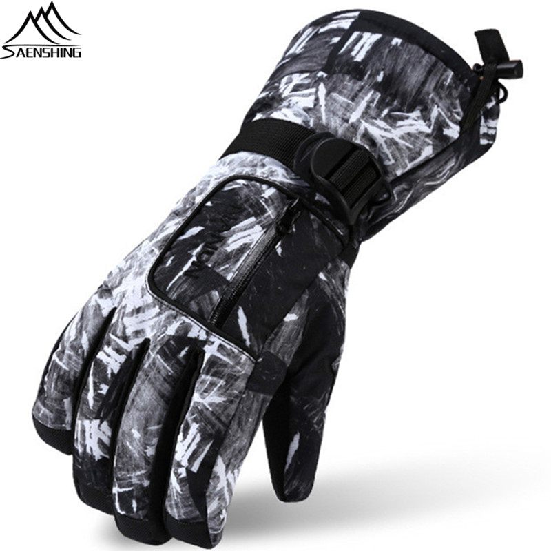 Saenshing Windproof Waterproof Ski Gloves Men Women Snowboard Gloves Thick Warm Winter Gloves Unisex Motorcyc Skiing Snow Glove