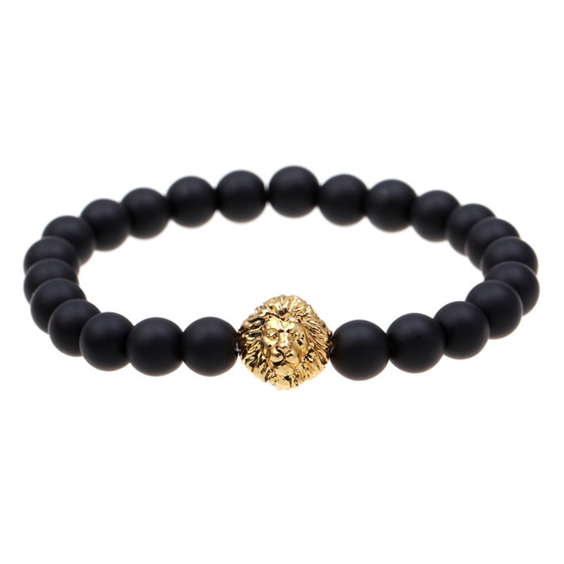 Fashion woman plating gold silver chain bracelet agate stone crystal beaded bracelet Lions jewelry gift
