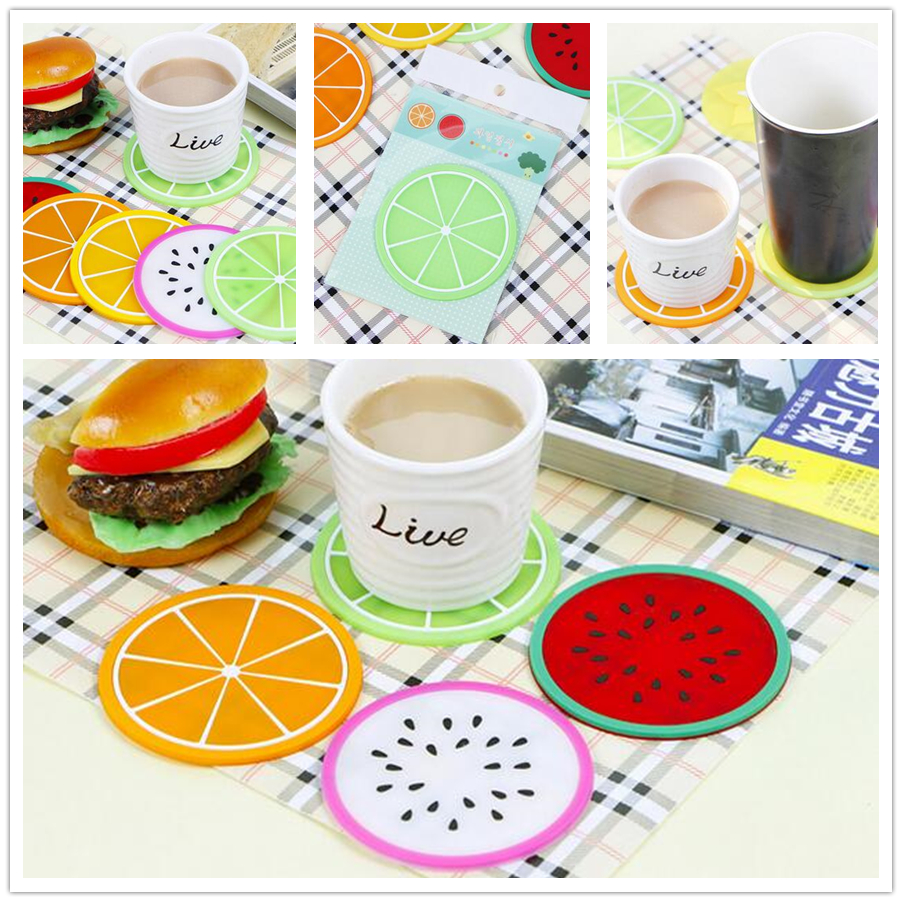 1pcs Mixed Colors Cute Fruits Cup Coaster Tea Coffee Mat Table Decor Durable Pretty Drink