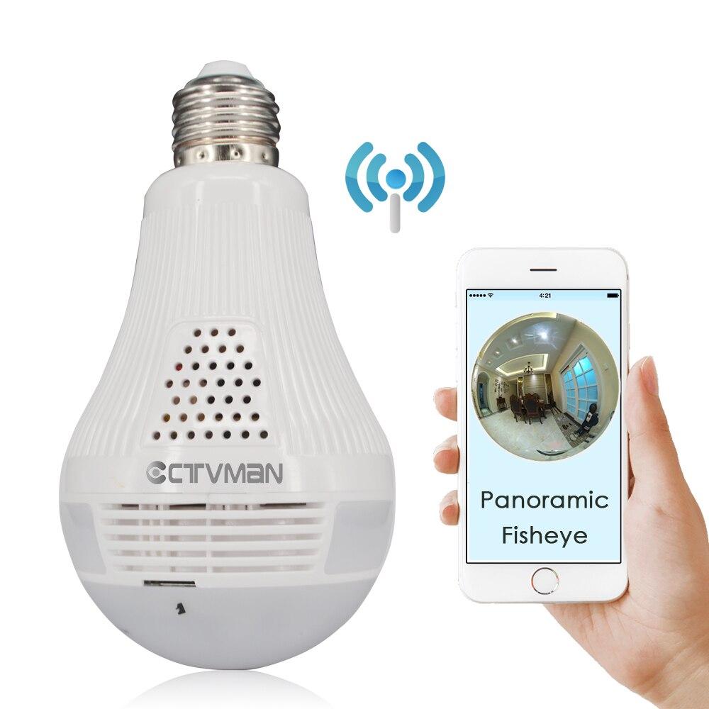 CTVMAN 360 Caméra de Sécurité CCTV Mini Sans Fil IP Lampe Caméras Fisheye Panoramique Ampoule 960 P 1080 P 3MP 5MP Réseau Wifi Ipcam