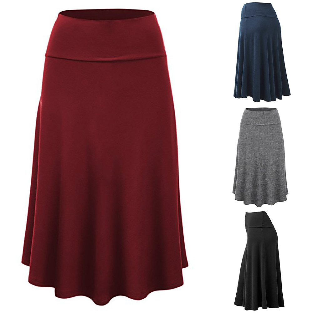 Womail Women Skirt Summer Plus Size Solid Flare Hem High Waist Midi Skirt Sexy Uniform Pleated Skirt Daily 2019 Dropship F9