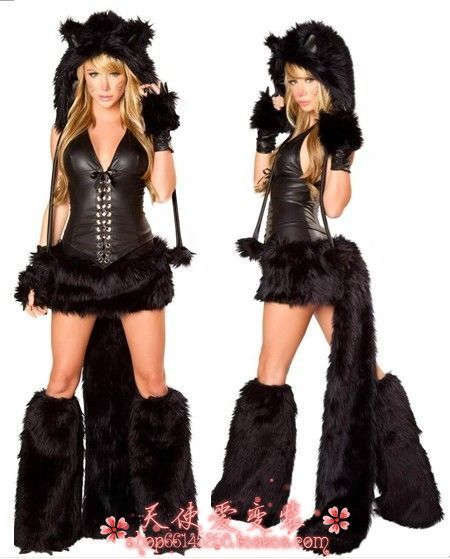 Animal Costume on sale luxurious black fur catwoman tomcat couture grey Wolf COSPLAY