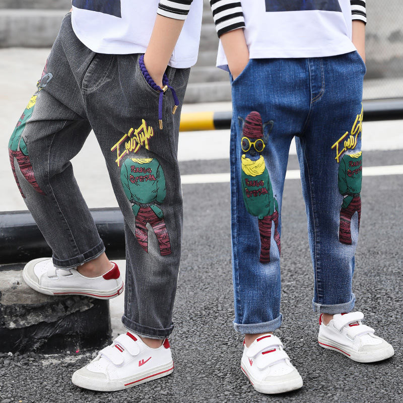 Jeans For Boy 4 5 6 7 8 9 10 11 12 13 Years Autumn Long Print Denim Pant New Fashion Toddler Jeans Kids Teens Baby Boy Trousers