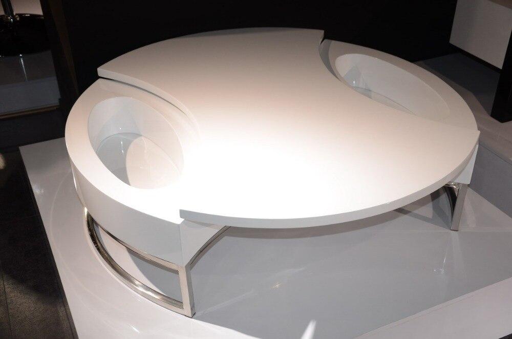 Table basse/Table à Thé, Design moderne, MDF + Spéculaire Peinture support en acier Inoxydable, peut Tourner avec de stockage Table ronde 4G-068 #
