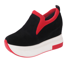 New spring Wedges High Heels Ladies Casual Shoes autumn Women slip on platform shoes female chaussure femme black red