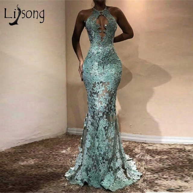 African Lace Mermaid Evening Dresses Sexy Backless Long Evening Gowns Halter Appliques  Nigeria Prom Gowns 2017 Aso Ebi Style