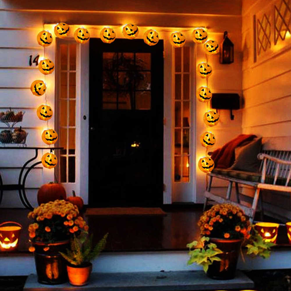 1 Set 10 LEDs Halloween Pumpkin String Lights 3D Halloween Lantern Party Home DIY Decor 1.2M Warm White Battery Operated Light