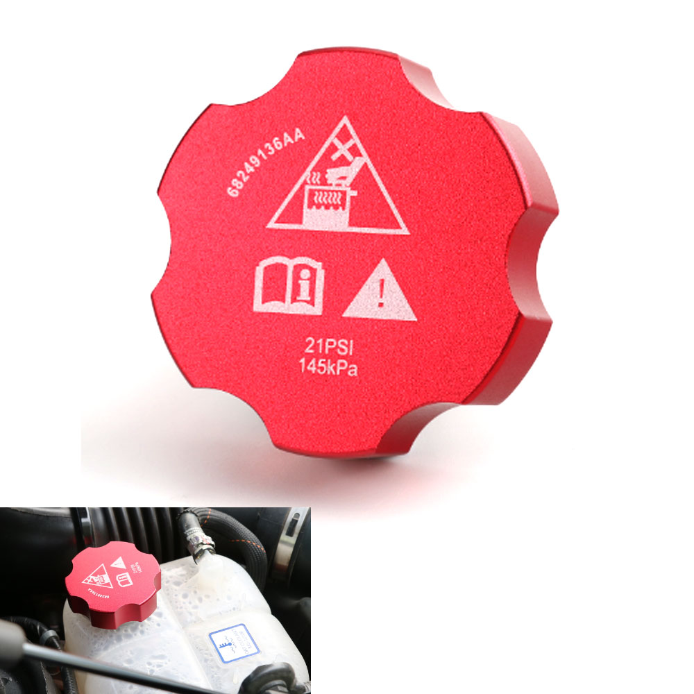 US $17 58 |1pc Red Aluminium Engine Water Coolant Bottle Reservoir Tank Cap  Cover Lid For Jeep Cherokee 2014 2016 Auto Accessories-in Tank Covers from