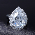 Classic Water Drop Design Jewelry White Gold Plated Pear cut  AAA+ Cubic Zircon Crystal Micro CZ Halo Wedding Ring for Women