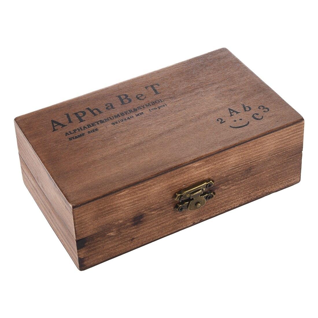 Pack de 70 pcs En Caoutchouc Timbres Vintage Set Boîte En Bois Cas Alphabet Lettres Nombre Artisanat (Aucun Tampon Encreur Inclus)