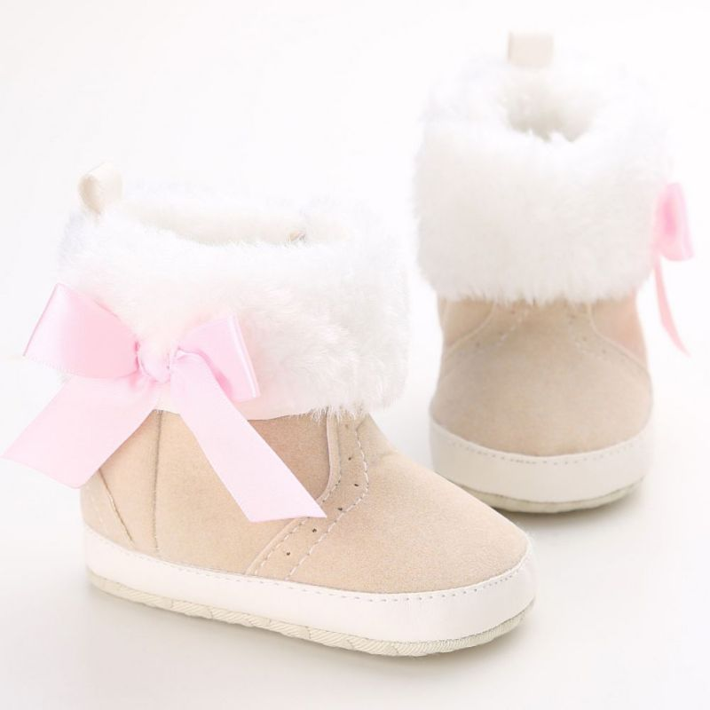 Fall Winter Warm Wear Shoes New Kids Baby Infant Girl Princess Butterfly-Knot Hairy Boots
