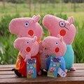 4 PÇS/SET Figuras Pepa Porco Cor de Rosa de Brinquedo de Pelúcia Rosa Porco Família papai Múmia George Pig Plush Toys Stuffed Boneca Presente Das Crianças Do Bebê