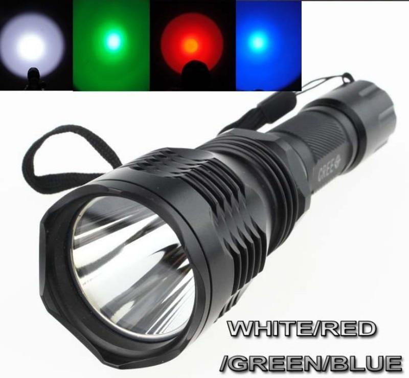 Tinhofire High Quality HS-802 CREE LED WHITE/RED/GREEN/BLUE Light LED Flashlight Torch