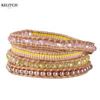 KELITCH 2016 New Statement Seed Crystal Beads Imitated Pearl Mixed Silver Clasp Handmade 5 Wrap Multilayers Friendship Bracelets