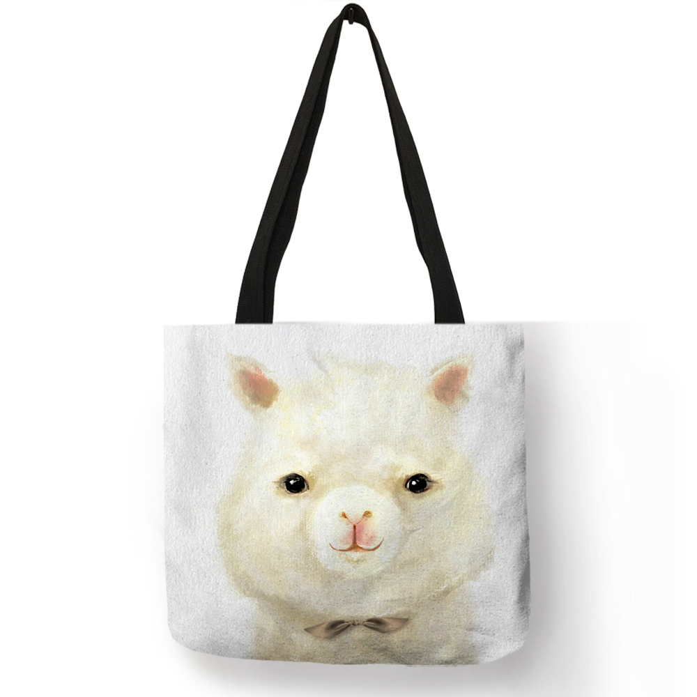 Vivid 3 D Alpaca Rabbit Bunny Print Women Tote Bag Eco Linen Shopping Bags Fabric Handbag Traveling Beach Bags плавки beach bunny beach bunny be033ewhhv09