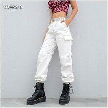 Лучший!  Повседневные брюки с высокой талией Белые брюки-карго для женщин Бегуны Свободная уличная одежда Бр�