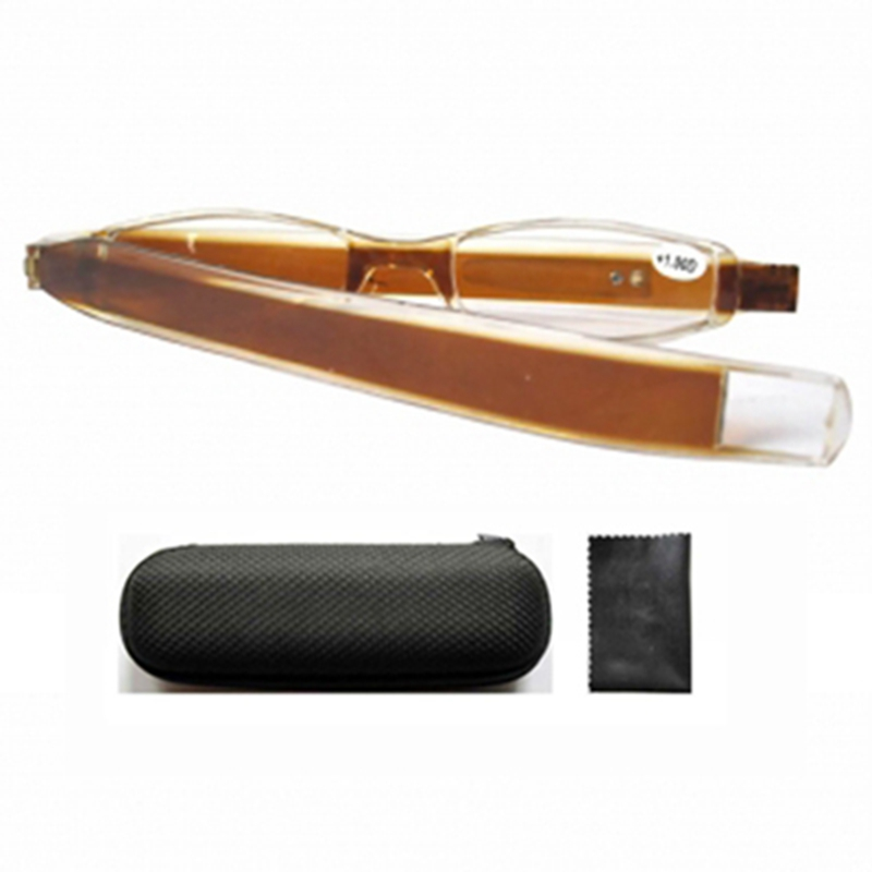 FR001 Brown Plastic Slim Mini Folding Reading Glasses Arms Turn 360 With Hard Case