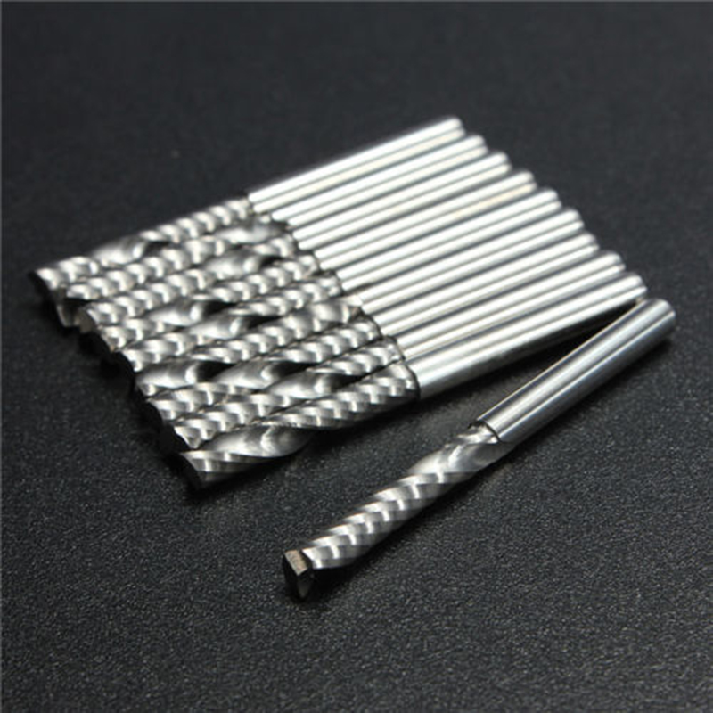 10pcs Carbide End Mill Cutter Single Flute Spiral CNC Router Bits 3.175x17mm Cutting Tools 10pcs 3 175 20mm single flute spiral end mill cutter tungsten carbide tools wood engraving bits on cnc machine