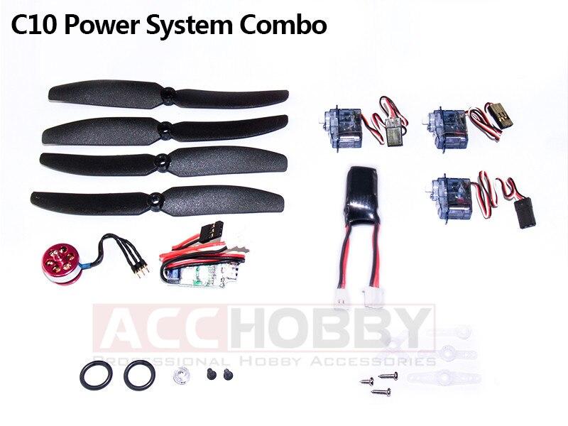 Micro Puissance Système Combos, C10 (Y Compris hélice économiseur, hélice, moteur (KV 2900), ESC, servo, batterie)