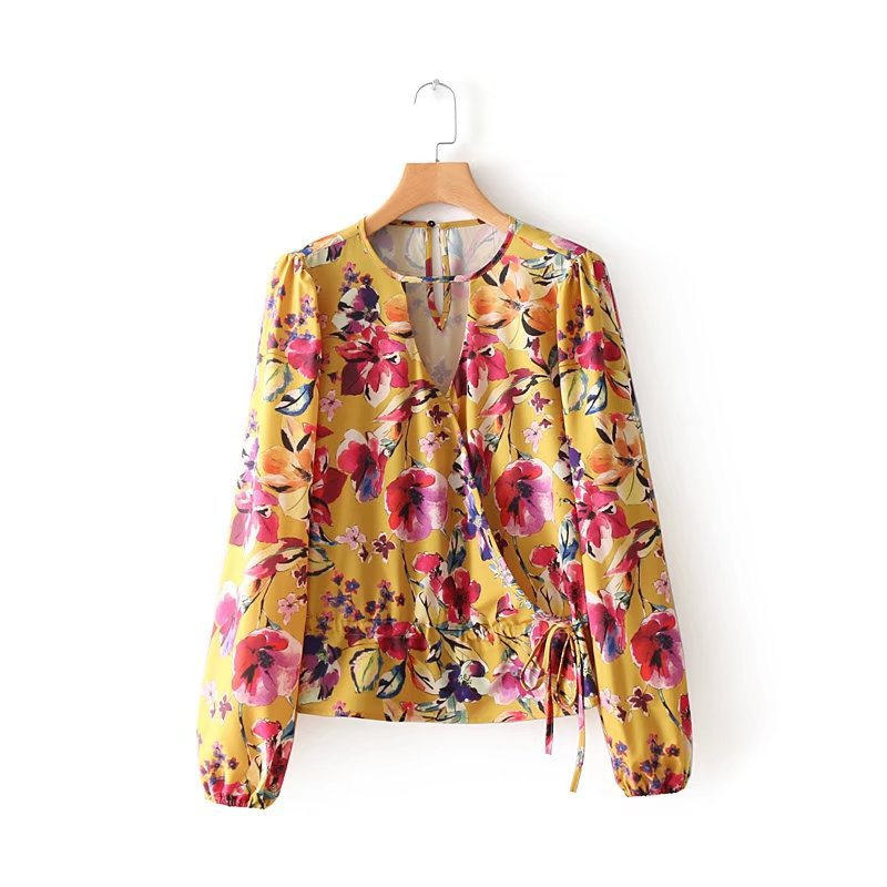 YSMILE Y New Women Print Shirt Loose Adjust Yellow Female Blouse Sexy Flower Casual Comfortable All Purpose Women Clothes W5061