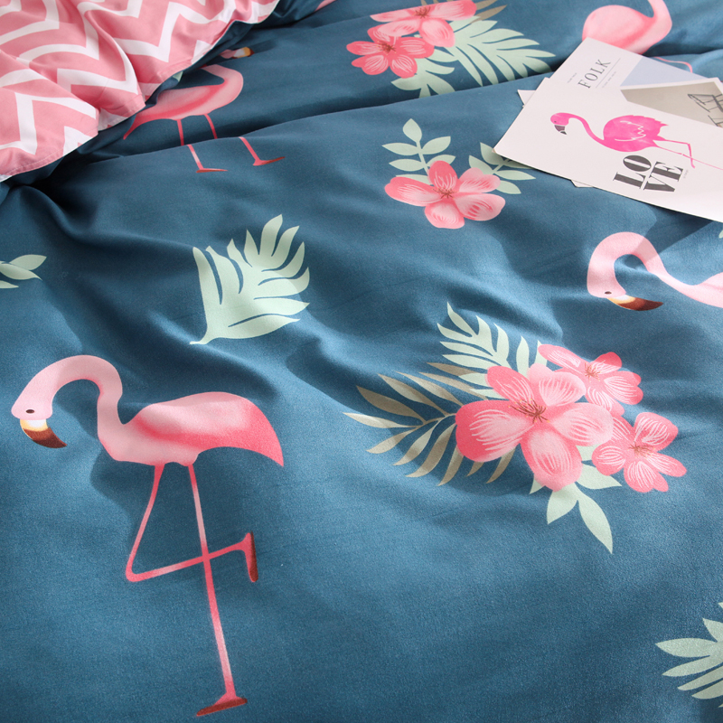 100% Cotton Duvet Cover Twin Full Queen King Size Cartoon Quilt Cover 1 Piece Pink Flamingo Blue Comforter Cover High Quality