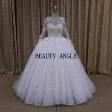 Vestido de Noiva Princess Wedding Dress 2017 Long Sleeves Lace Appliques Bead Wedding Gowns Real Robe de Mariage Trouwjurk