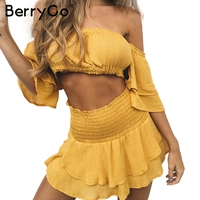 BerryGo Ruffles Off Shoulderwomen Jumpsuit Romper Sexy Elastic High Waist Cross Lace Up Backless Overalls Summer