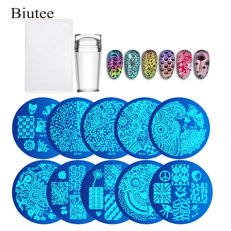 Clear Jelly Silicone Nail Art Stamper Scraper With Cap Stamping Template Image Plates Nail Stamp Plate Tool 10pcs Nail Plates Beauty & Health