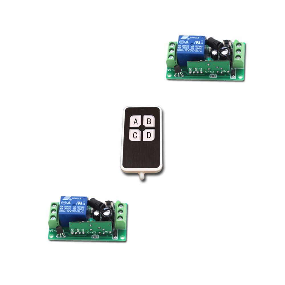 A B C D Key DC9V 12V 24V 1 CH 1CH RF Wireless Remote Control Switch System Waterproof Transmitter and2pcs Receivers Top Quality 2 receivers 60 buzzers wireless restaurant buzzer caller table call calling button waiter pager system